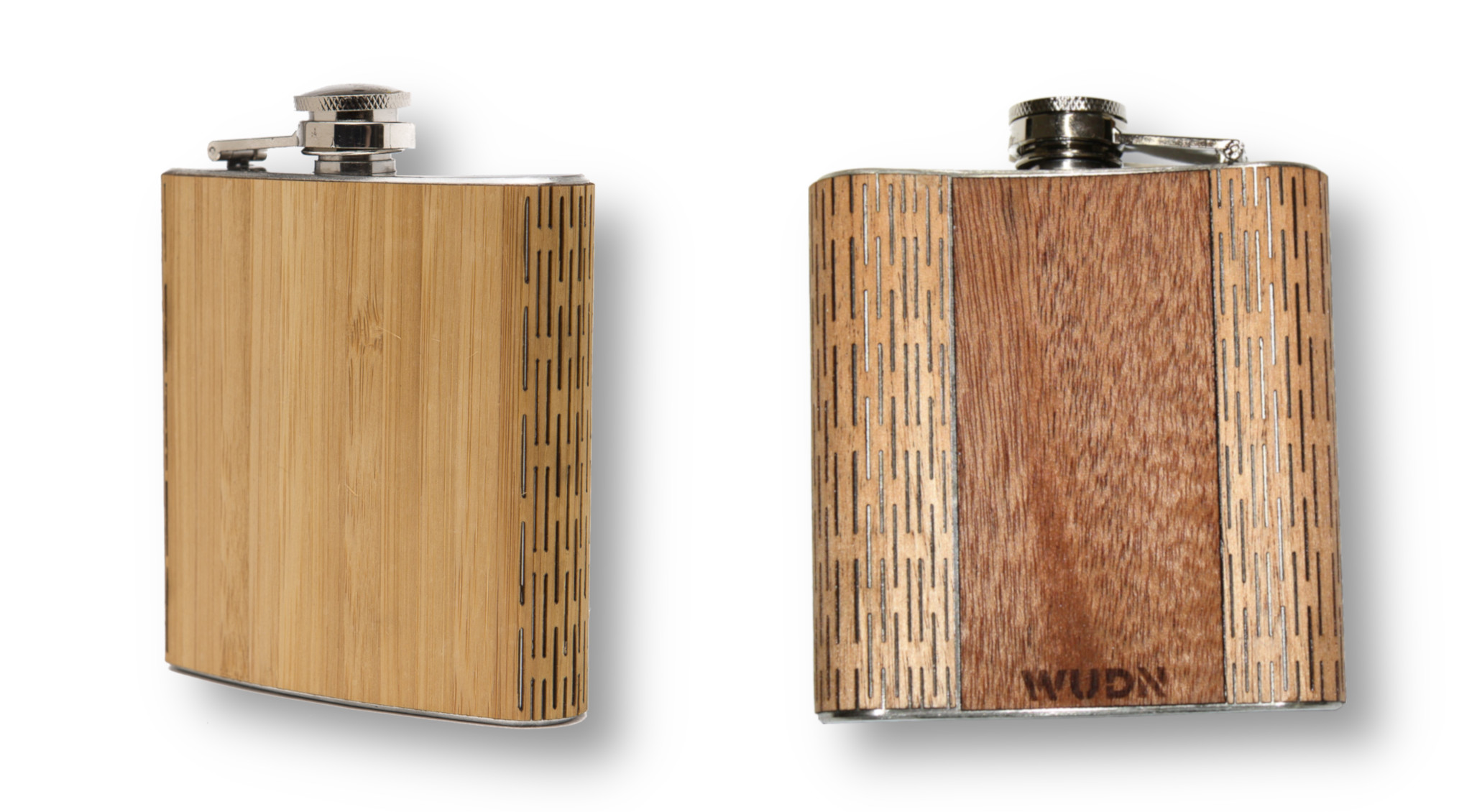 Living hinge in wood on a 6oz hip flask