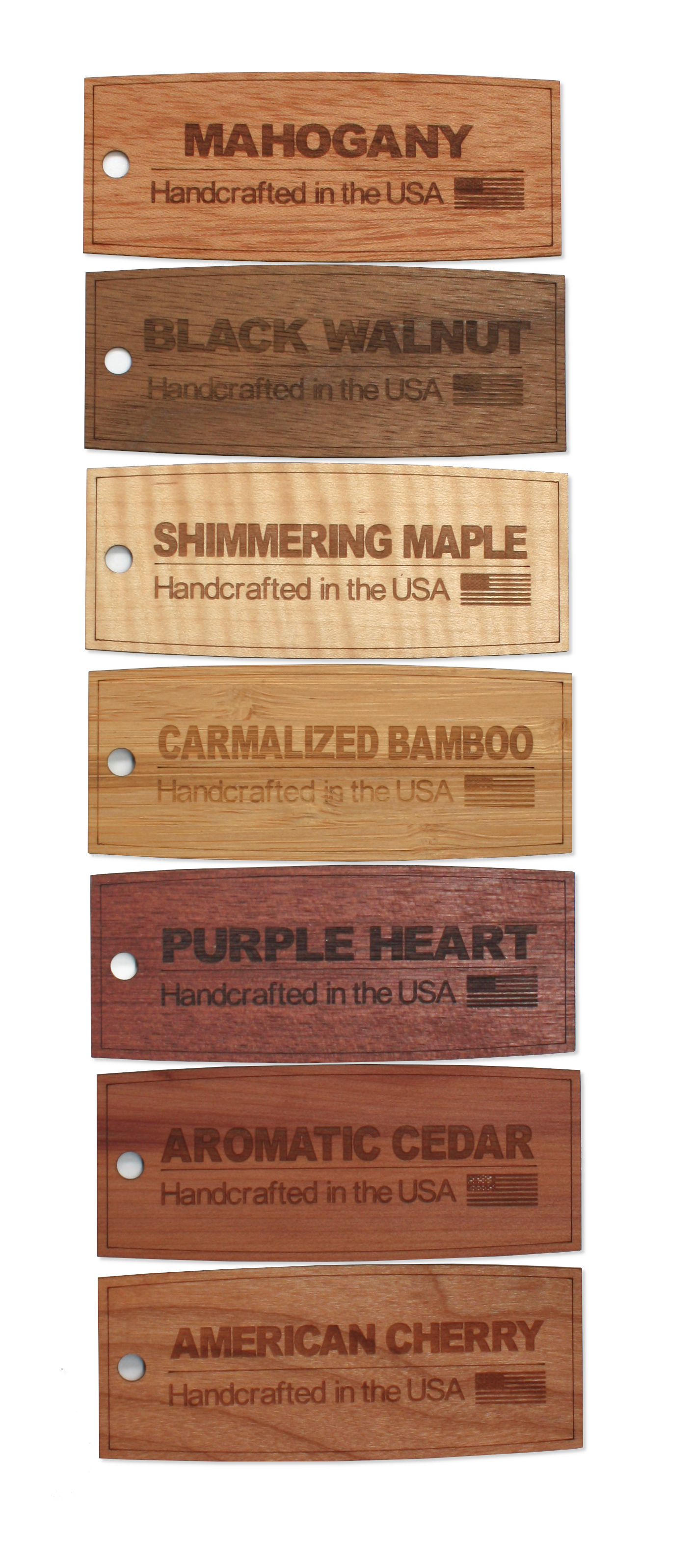 7 Wood Species for laser engraving wooden promotional products