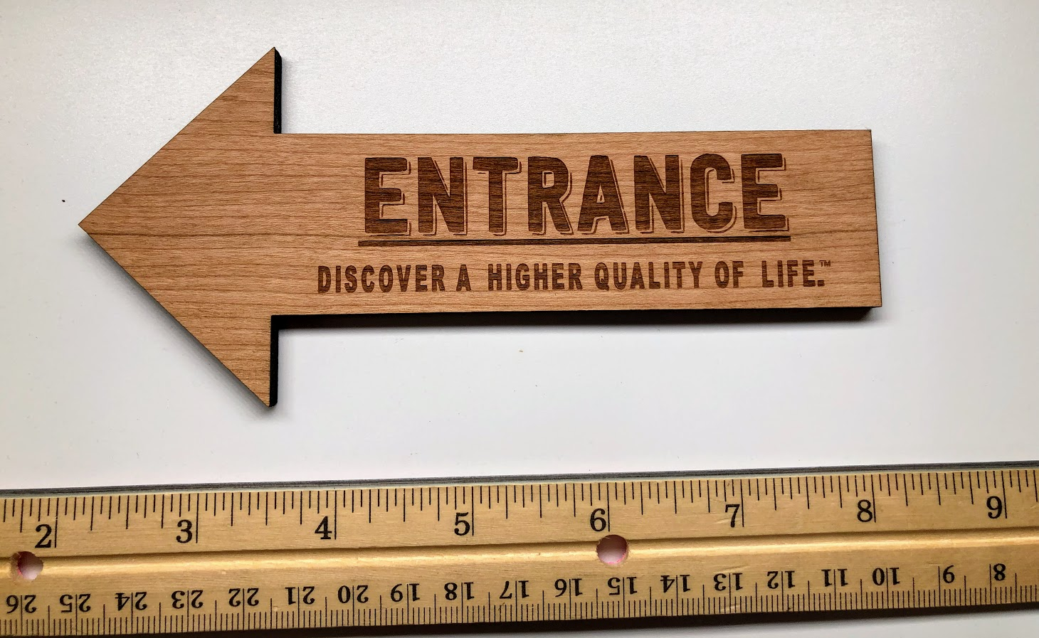 Small Engraved Wall Sign in 1/4 inch American Cherry