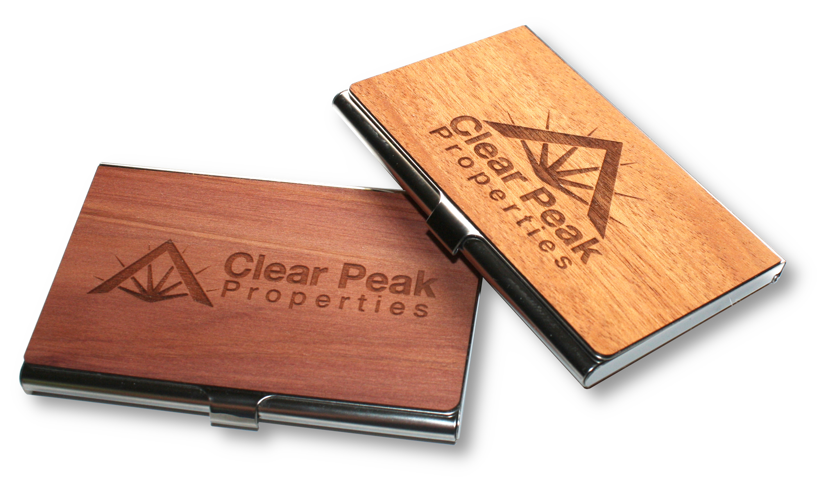 Laser engraved wooden business card holders with logo branding
