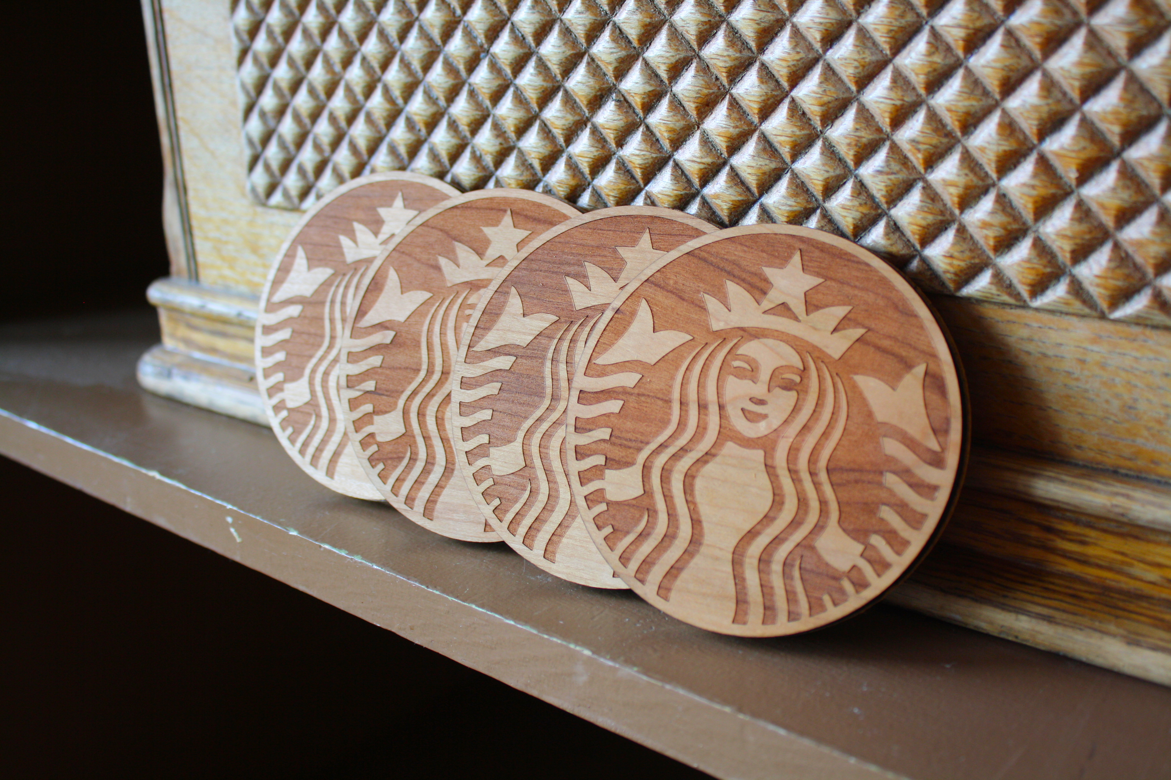 Custom laser engraved wood coasters in american cherry