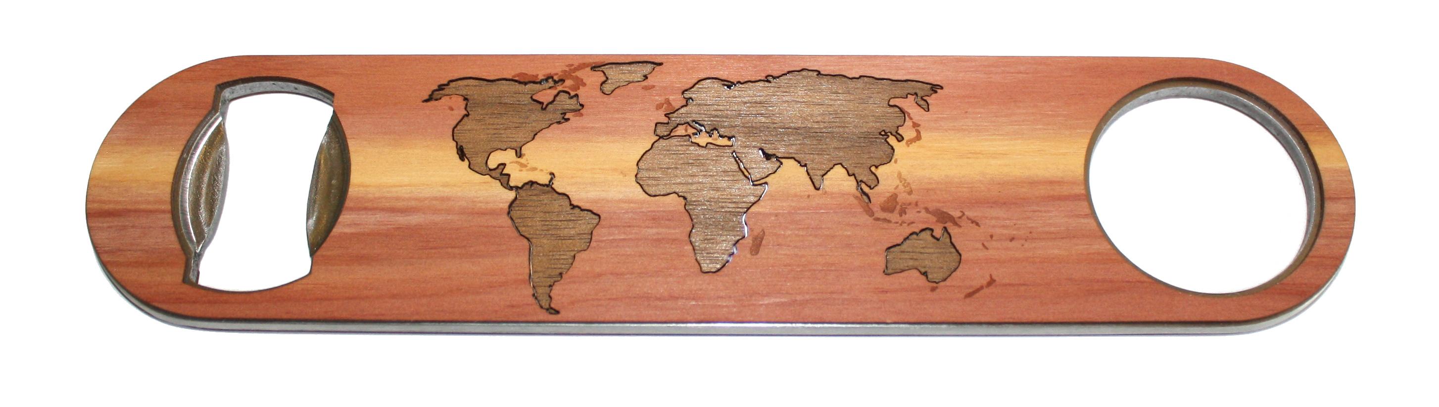 2 wood inlay example world map on bottle opener