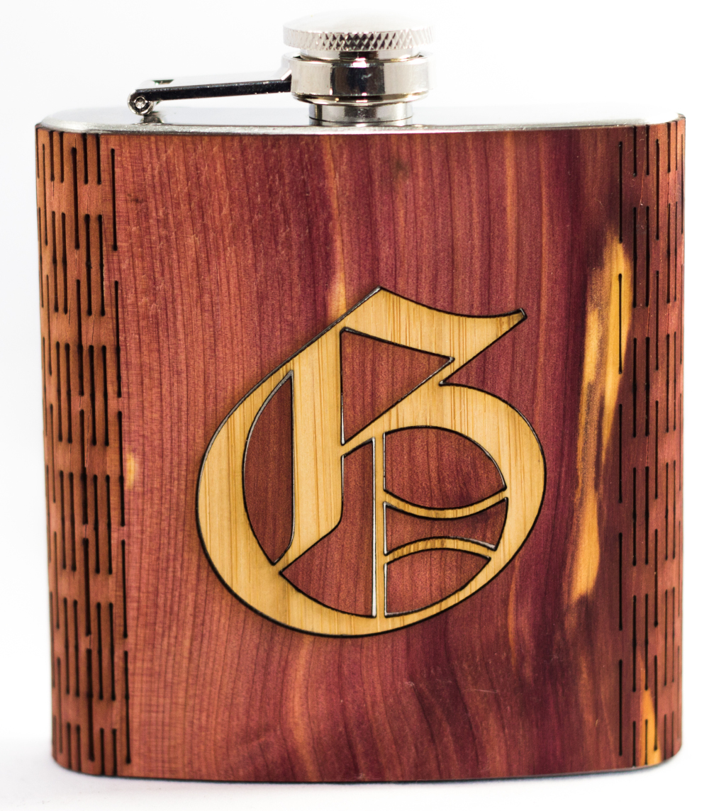 2 wood inlay example on a 6oz hip flask
