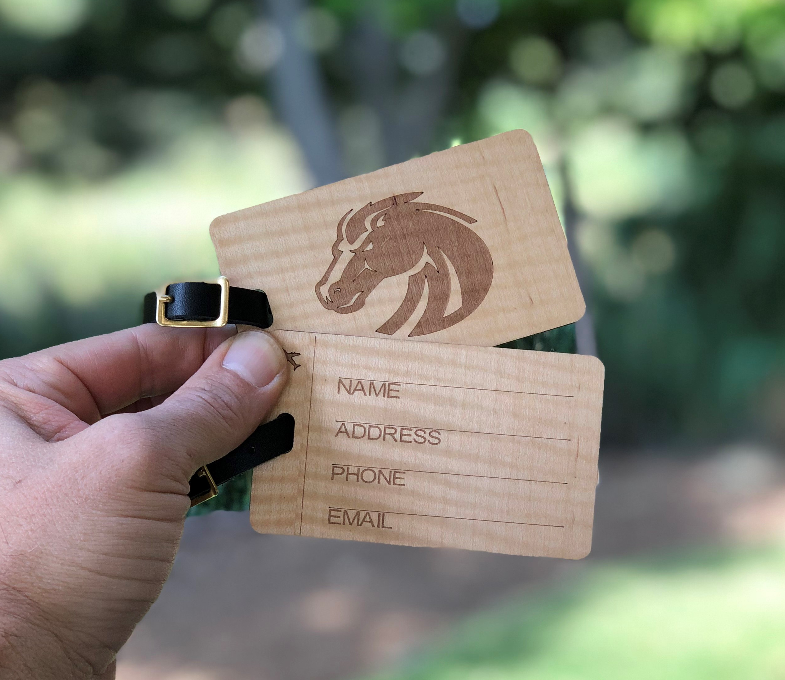Slim Luggage Tags laser engraved in Shimming Maple