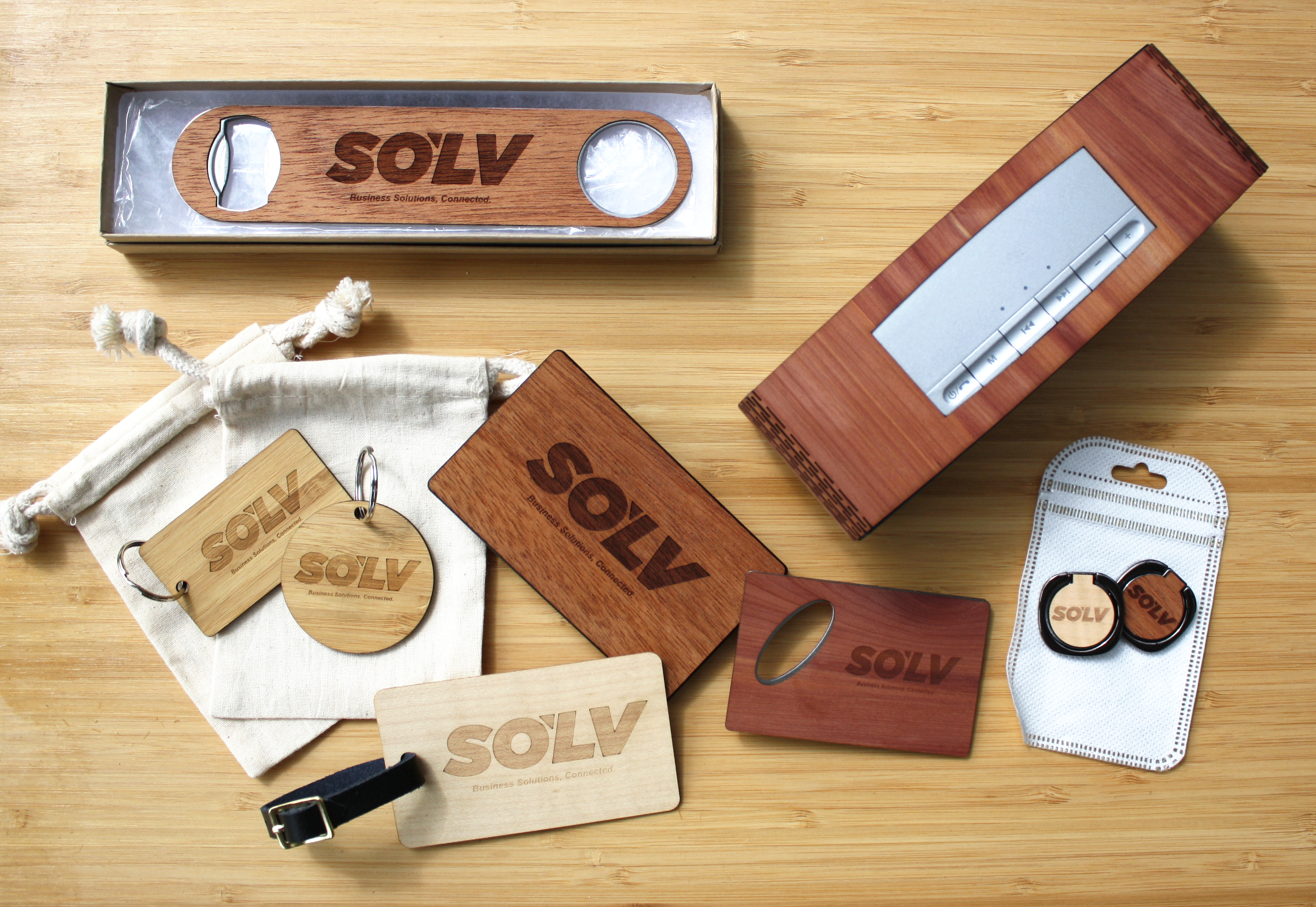 Wooden laser engraved sample kit of promo products