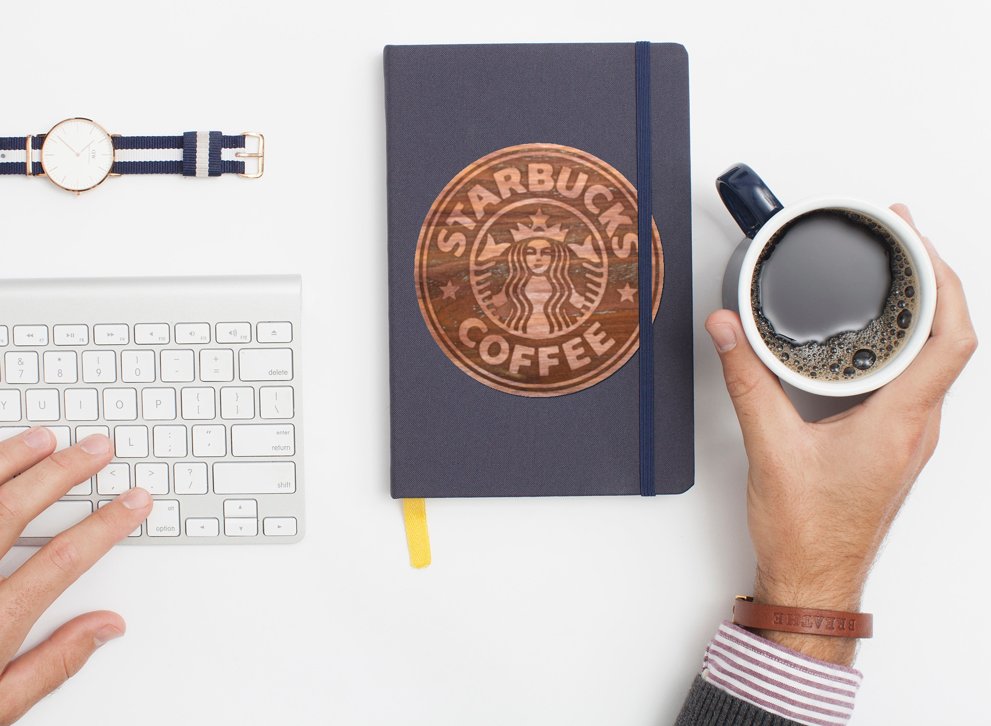 Real wood sticker in aromatic cedar laser engraved starbucks logo on journal