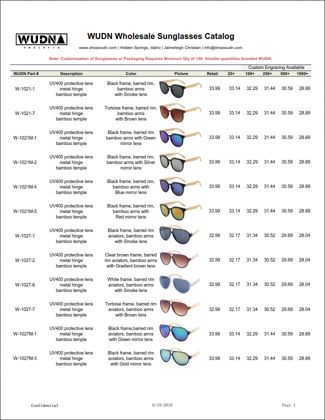 Wholesale Sunglasses Catalog Price List