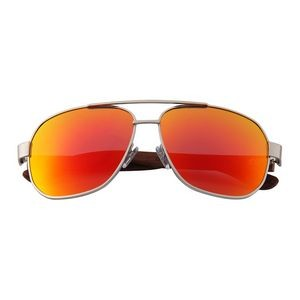 W-1703 Square Aviator Series Ebony, Zebra & Rose Wood Wooden Sunglasses